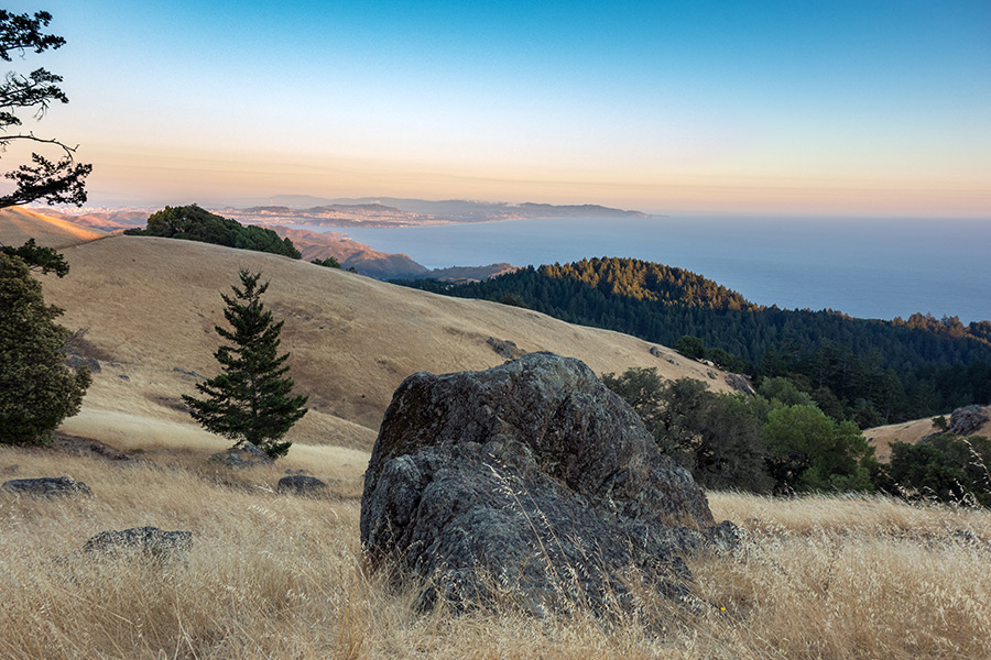 tamalpais sunset with boulder in foreground