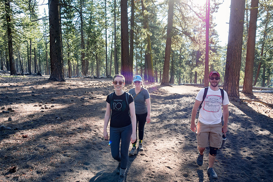 hikers on cinder cone trail