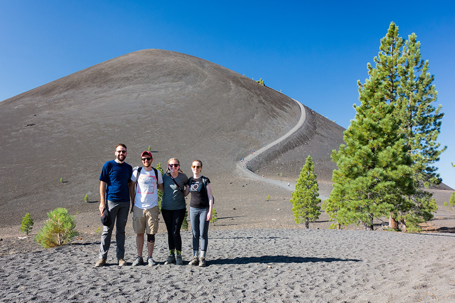hikers group photo cinder cone