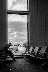 traveler waiting at airport