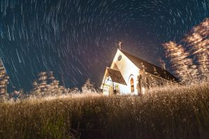 long exposure of an old church at night