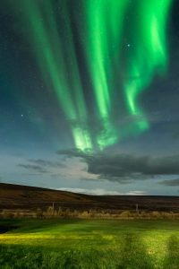 green aurora at night over a quiet countryside