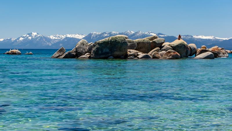 lake tahoe rocks and mountains