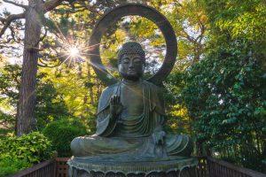 sun rising over a buddhist statue