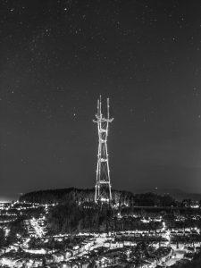 a large radio tower at night