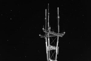 sutro tower against a sky of stars