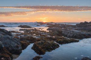 sunset over tidal rocks