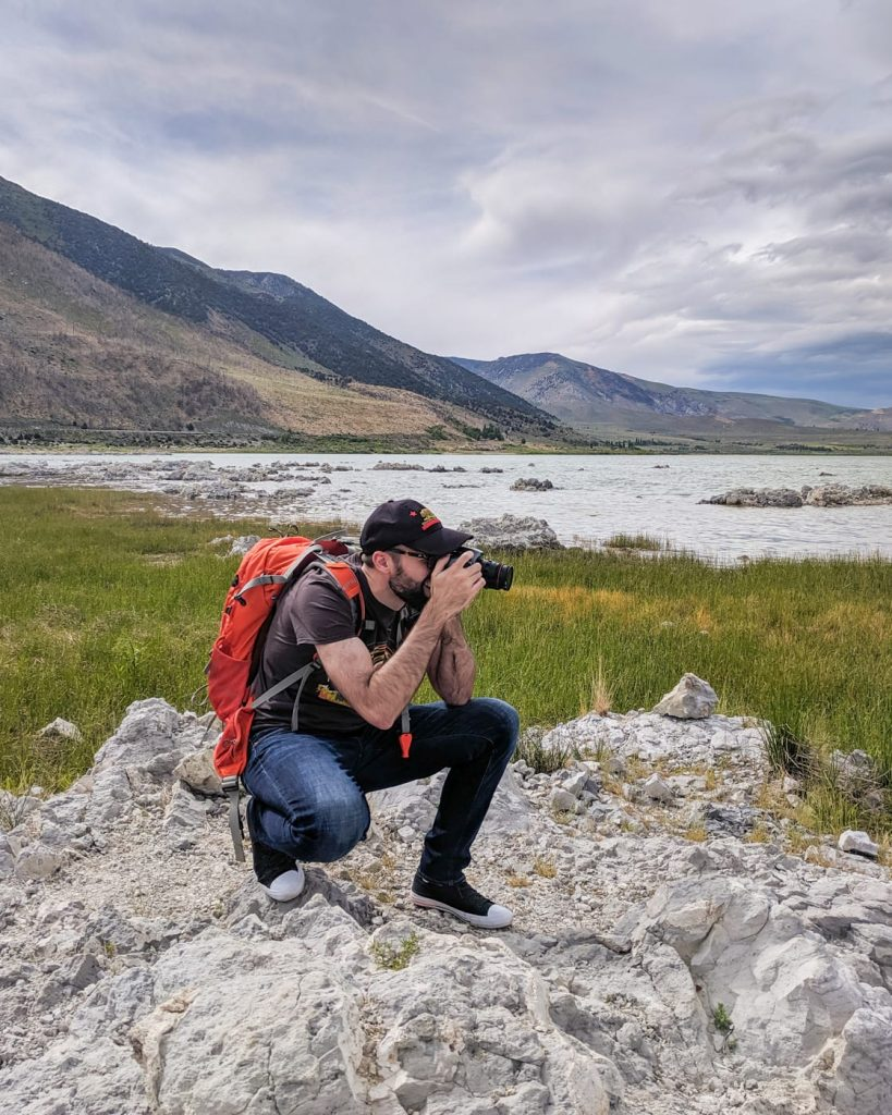 Photographer Matt McLean at Mono Lake