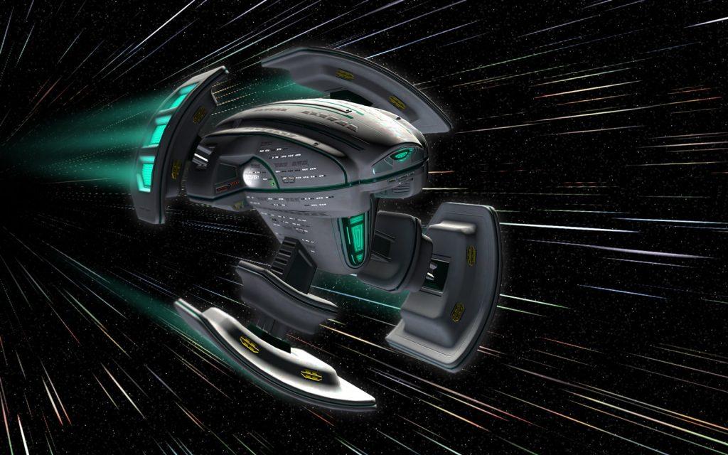 Concept art of an Alcubierre-type warp spaceship