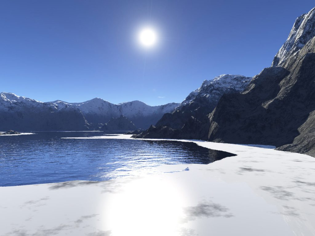ice sheet on mountain lake