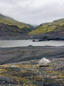 glacial moraine in fog