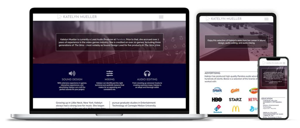 Katelyn Mueller Audio Producer website mockup