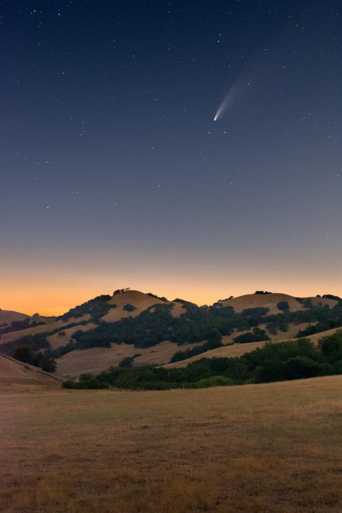 comet neowise above california countryside