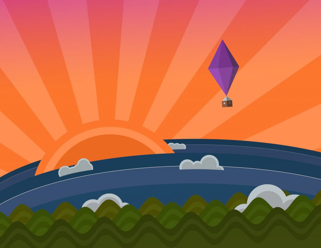 Vector illustration of a balloon sailing into a sunset