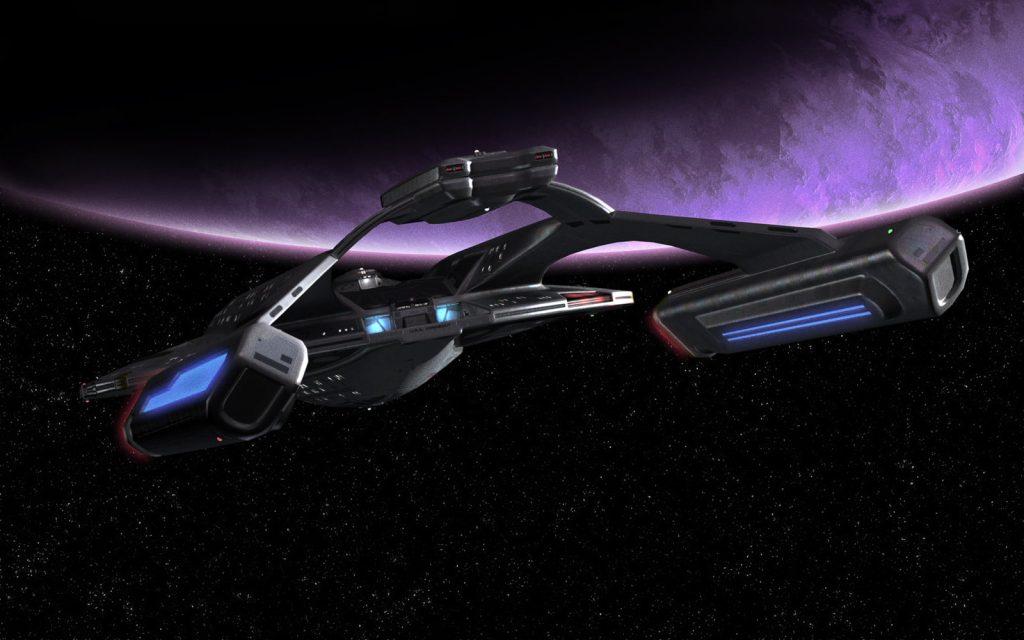 akira class starship orbiting a moon
