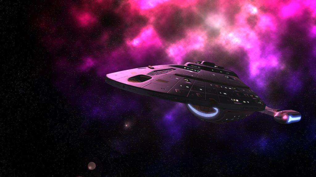 Intrepid class starship exploring a nebula