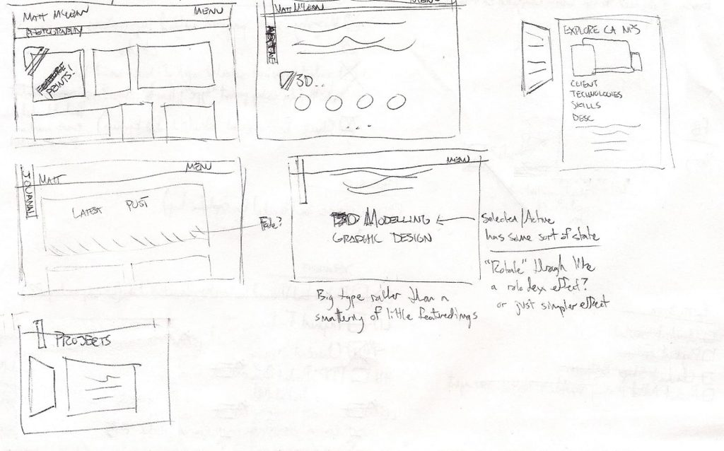 Sketch ideation for portfolio layout and interaction