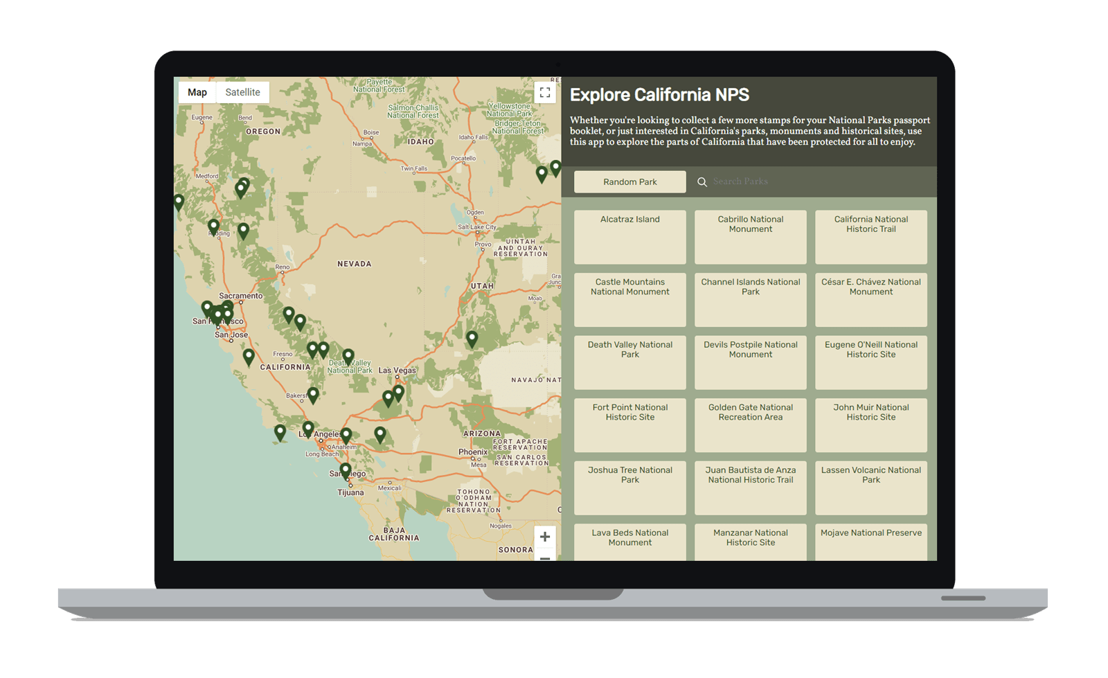 laptop computer displaying the Explore California National Parks website