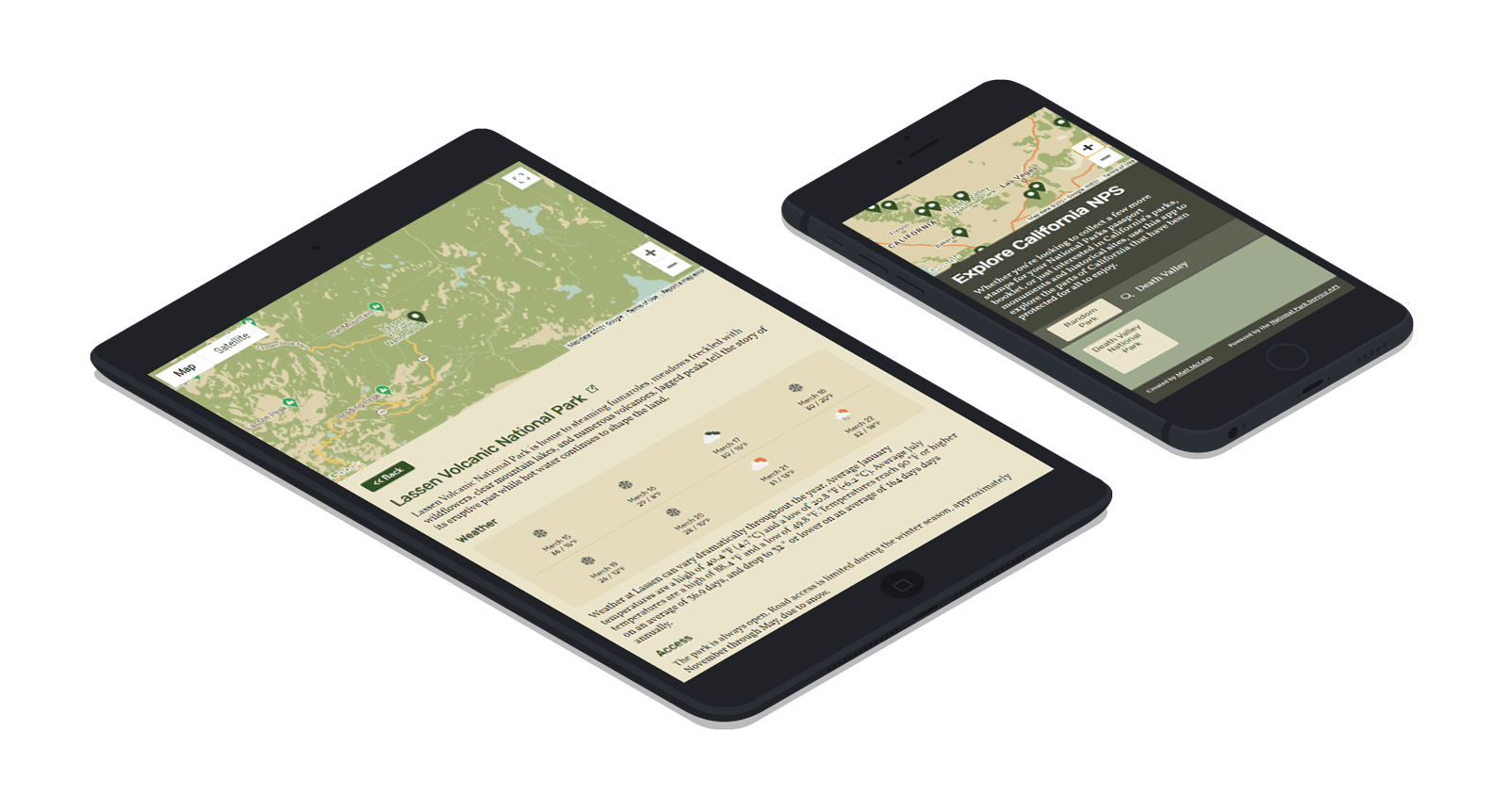 mobile devices displaying the Explore California National Parks website