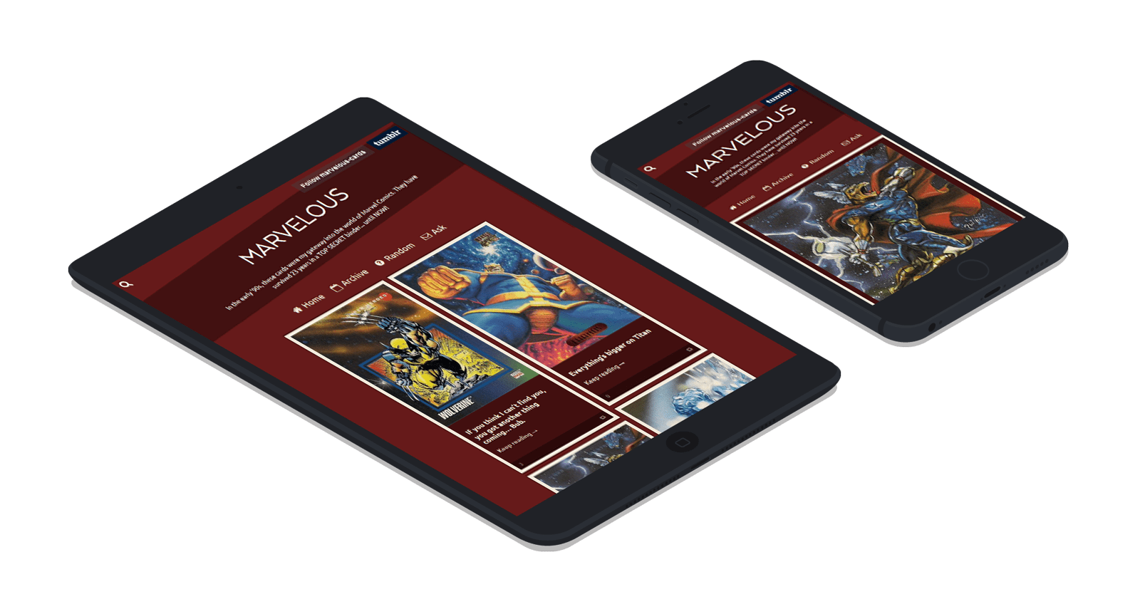 mobile devices displaying the Marvelous Cards website